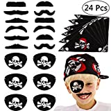 Tacobear 24pcs Piraten Zubehör Set Kinder Piratenkapitän Augenklappe Piraten Bandana Kopftuch Falsche Schnurrbärte Kinder für Karneval, Halloween und Partys