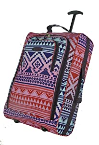 Frenzy/5Cities Lightweight Hand Luggage Bag - Approved Ryanair 2 Wheeled Cabin Baggage. 42L Travel Suitcase Holdall Includes Padlock! (Aztec Multi)