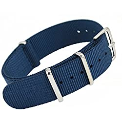MetaStrap 20mm Nylon Strap Nato Watch Band (Navy blue)