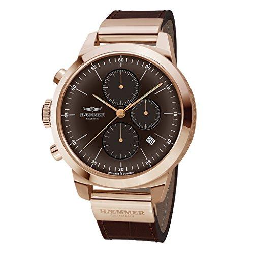 HAEMMER HK-04 LOUNGE Chronograph Uhr Herrenuhr Lederarmband vergoldet 10 bar Analog Chrono Datum Braun