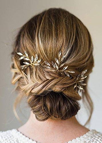 Kercisbeauty handgemachte Braut Brautjungfern einfach niedlich Kristall Gold Silber Blatt Blätter Haar Pins Kopfschmuck Blumenmädchen (3er Set) (Gold) - Pins Braut-haar
