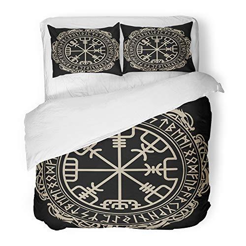 Set Twin (1Bettbezug + 1Kopfkissenbezug) Celtic Viking magischen Runic Kompass Vegvisir im Kreis nordischen Runen Tattoo Hotel Qualität Falten schmutzabweisend Full/Queen Rot ()