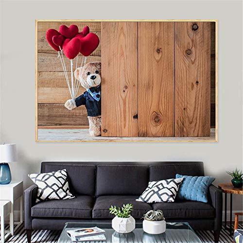 Leinwanddruck Leinwand Kunst Malerei Glücklich Teddybär Schöne Bild Wand Poster Für Wohnkultur Wohnzimmer Dekoration Liebhaber 50Cmx70Cm (Bilder Von Teddybären)