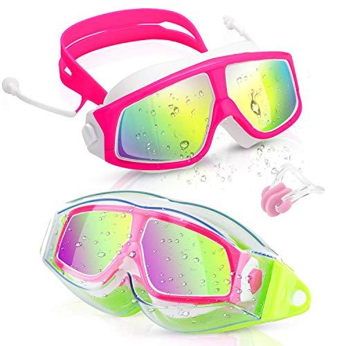 Kinder Schwimmbrille (3-15 Jahre), Taucherbrille Swimming Goggles Antibeschlag UV-Schutz Keine Undichtigkeit Beschichtete Linse mit Etui Nasenclips Ohrstöpseln HD Schwimmbrillen für Mädchen Jungen