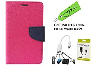 AUX MART Fancy Diary Wallet Flip Cover Case For Micromax A114Canvas 2.2 Pink With FREE Premium Quality Micro USB OTG - White