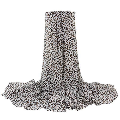 Bufanda de Mujer Pañuelo de Señoras Moda Estampado de Leopardo y Flores Señoras Largo Gasa Fular Elegante Fiesta Chal Toalla de Playa Estolas