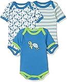 Schnizler Unisex Baby Body Kurzarm, 3er Pack Schildkröte, Oeko-Tex Standard 100, Blau (original 900), 50 (Herstellergröße: 50/56)