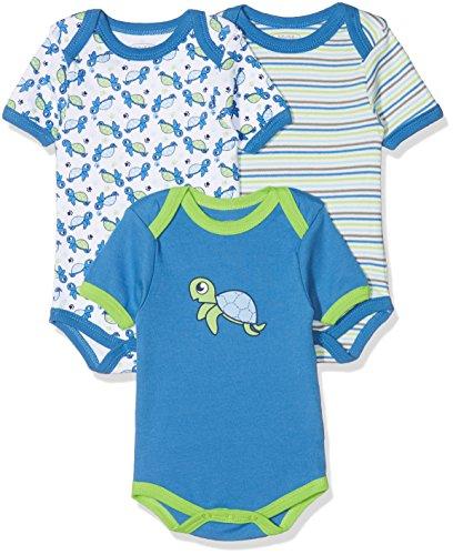 Schnizler Unisex Baby Body Kurzarm, 3er Pack Schildkröte, Oeko-Tex Standard 100, Blau (original 900), 62 (Herstellergröße: 62/68)