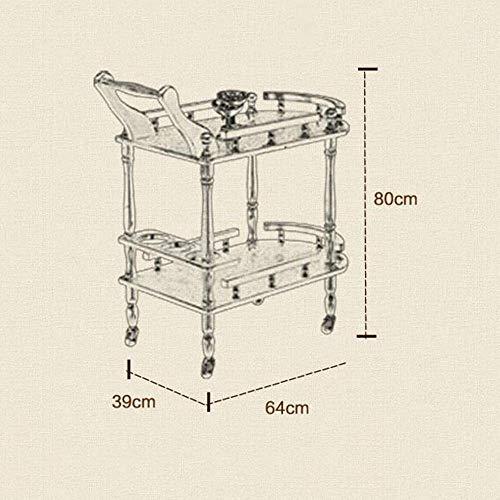 Land Möbel Lagerung (Jazi Regale Regale Servierwagen mit Lenkrollen 3-stufiger Küchenwagen Utility-Möbel in Holzoptik mit Messingrahmen für Küchen-, Schlafzimmer- und Wohnzimmerregale)