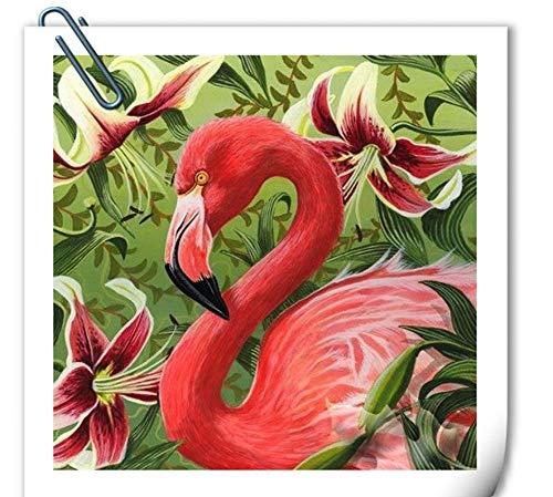 rei Diamant Malerei Flamingos Volle Quadratmeter Diamant Stickerei Tier Kreuzstich Diamant Mosaik Strass Wohnkultur, 50 cm X 60 cm ()