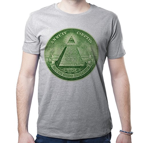 Illuminati Triangle Art Majestic Green Round Dollar Symbol Herren T-Shirt Grau