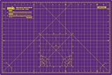 ANSIO A3 Double Sided Self Healing 5 Layers Cutting Mat Imperial/Metric 18 Inch x 12 Inch / 45cmx 30cm - Royal Purple / Carnation Pink