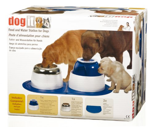 """Dogit 73645 Hunde-Set bestehend aus erhöhtem Futternapf, Trinkbrunnen """"Fresh & Clear"""" und 2 Unterlegmatten für  größere Hunde"""