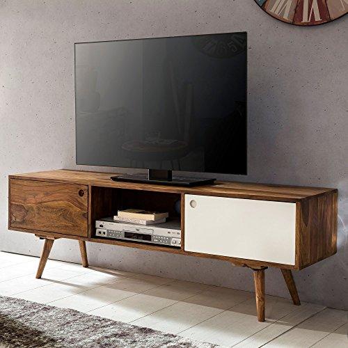 Wohnling TV Lowboard 140 cm, Massiv-Holz Sheesham Landhaus 2 Türen und Fach, braun/weiß