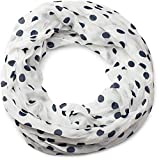 styleBREAKER Punkte Muster Loop Schlauchschal, seidig leicht, Tuch, Damen 01016111, Farbe:Weiß-Dunkelblau