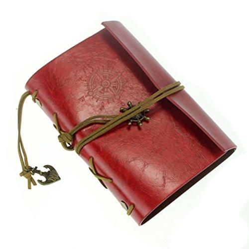 Weinlese-Art-Notizbuch-Kingwo Leder-Abdeckung Notizbuch-Journal-Tagebuch-unbelegte Schnur Nautisch (4x6 Portfolio-buch)