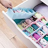 Harikrishnavilla Plastic 5 Grid Divider Partition Undergarments Storage Box (Assorted Colour) - Pack of 2