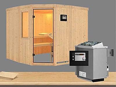 Simara 3 - Karibu Sauna inkl. 9-kW-Ofen - mit Fenster - von Woodfeeling GmbH bei Du und dein Garten