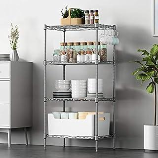 VOONEEN 4 Shelf Shelving Units, All-Metal Multipurpose Modern Storage Rack Suitable For Kitchen Home Office Living Room, Wire Organisation Rack with 4 Side Hooks Adjustable Levelling Feet,45*30*90CM