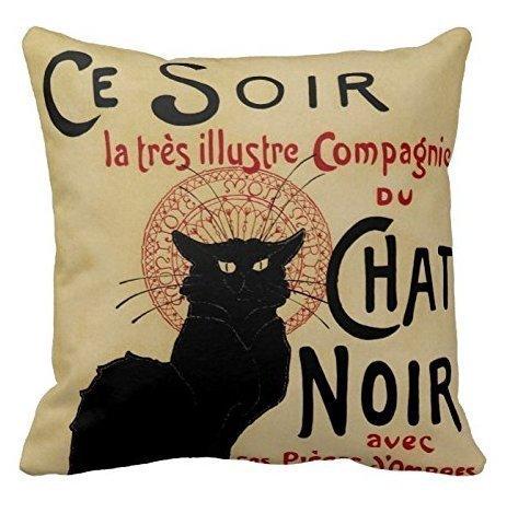 Le Chat Noir Print Custom Zippered Pillow Cushion Case Throw Pillow Covers 18