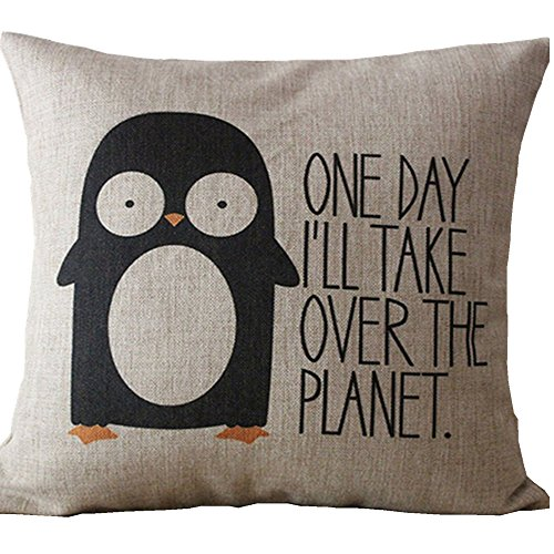 SIXSTARS Decorative Cotton Linen Square Throw Pillow Case Cushion Cover Penguin Saying Pillowcase (20x20 inch)