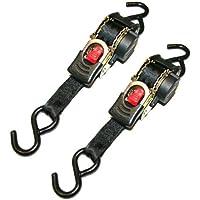 iapyx - Lot de 2 Sangles d'arrimage automatique - Sangle d'arrimage avec mécanisme d'enroulement automatique - Sangle de serrage à cliquet 1,85 m, 600kg de cerclage, norme EN 12195-2