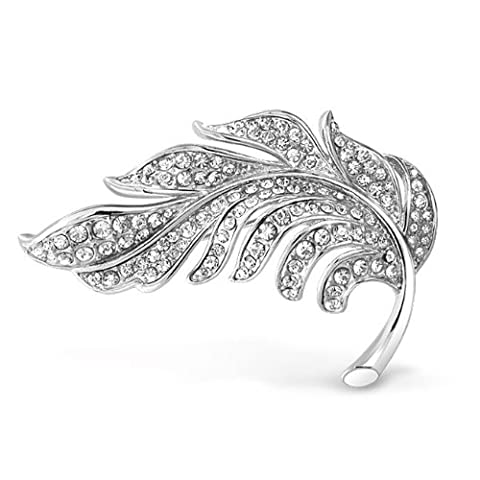 Crystal Nature Leaf Brooch Pin Silver Plated
