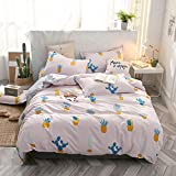 SHJIA Plaid Geometric 4Pcs Set Copripiumino Cartoon Copripiumino Lenzuola e Federe Completo Biancheria da Letto Set Rosa 200x230cm