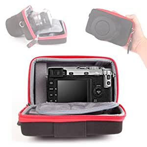 Coque étui rigide pour appareil photo SLR Fujifilm X-E1, X-Pro1 Compact numérique hybride muni de son objectif + poche pour cartes SD & accessoires