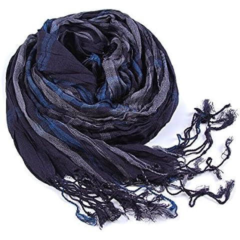 Los hombres enrejados de otoño e invierno cálido invierno bufanda de algodón rayas