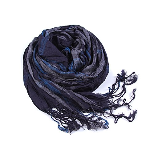 lkklily-men Herbst und Winter Gitter sowhol Streifen Baumwolle Schal Warm Winter (Ombre-streifen-schals)