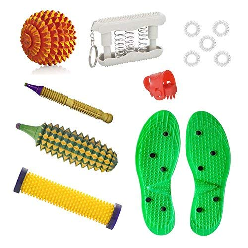 ACS Acupressure Tools Combo Kit with Yoko Poly-plastics Sole Height Increase, Wooden Ball, Thumb Pressure, Sujok Ring, Energy Roll, Wooden Jimmy, Pocket Exercise and Wooden Kerala