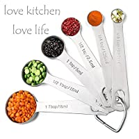 Skyroku S99 Stainless Steel Measuring Spoons,Set Of 6 Accurate Spoons With Us & Metric Sizes For Measuring Dry And Liquid Ingredients