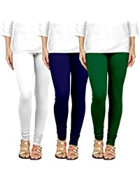 Chudidar Cotton Leggings Womens/Girls/Ladies By Ancientstar (pack Of 3) (5XL, White Navyblue Darkgreen)