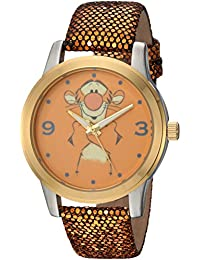 Disney Women's 'Pooh Tigger' Quartz Metal Casual Watch, Color:Gold-Toned (Model: WDS000353)