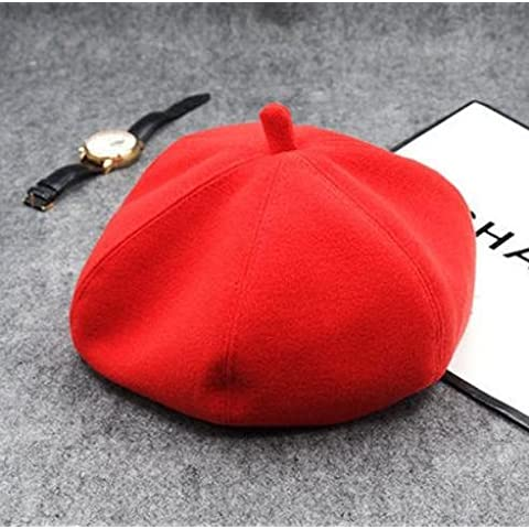 Donna Autunno Inverno Lana Vintage caldo feltro Beret Cap Hat