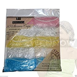 Wennow 10 Pcs Disposable Plastic Mix Color Shower Bathing Caps With Elastic