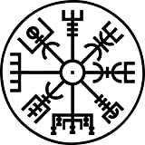 Aufkleber Aegishjalmur Nordischer Kompass Schwarz