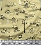 Soimoi Beige Jersey de algodon Tela farola y el ciclo de cosecha texto estampada de tela por metro 58 Pulgadas de ancho