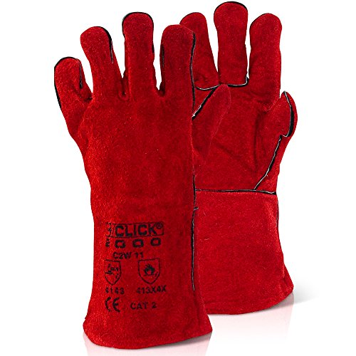 Rojo lunares piel contra incendios guantes totalmente