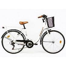 """Moma - Bicicleta Paseo Citybike SHIMANO. Aluminio, 18 velocidades, ruedas de 26"""", color blanco"""