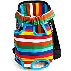 iEFiEL Mochila para Mascota Bolso Frontal Transportin para Llevar Su Perro Gato con Tirantes Ajustables Multicolor M