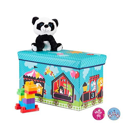�r Kinder, Faltbare Aufbewahrungsbox mit Stauraum, Zirkus Motiv, Jungen u. Mädchen, 66 Liter, türkis ()
