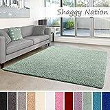 Shaggy-Teppich | Flauschiger Hochflor für Wohnzimmer, Schlafzimmer, Kinderzimmer oder Flur Läufer | einfarbig, schadstoffgeprüft, allergikergeeignet | Mint Grün - 120 x 170 cm