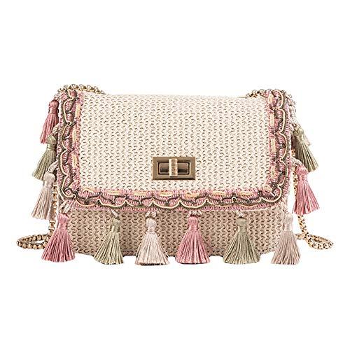 Holiday Damen Tasche (TREESTAR Kreative Quaste Sommer Strand Stroh Handtasche Strand Gewebte Tasche Mori Strohsack Holiday Umhängetasche für Frauen Mädchen)