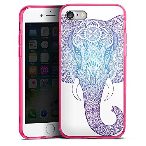 Apple iPhone 8 Silikon Hülle Case Schutzhülle Elefant Mandala Ornamente Silikon Colour Case pink