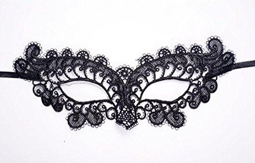 Upxiang Halloween Maske Masquerade Spitze Maske Catwoman Schwarz Ausschnitt Prom Party Maske (Black Masquerade Maske Frau)