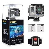 EECOO Action Cam 4K WIFI 16MP Ultra Full HD Impermeabile 30M Sott'acqua Camera con Dual Screen 170°Grandangolare 2.0 Pollici Due 1050mAh Batterie con Custodia Impermeabile e Kit di Accessori (Argento)