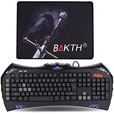 BAKTH K-TJ35-GK - Teclado (retroiluminado, LED, USB - kit con alfombrilla), color negro y azul