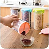 [Sponsored]MR Transparent Plastic Lock Food Storage, Container, Storage Container For Kitchen Use Dispenser Airtight Container Jar For Cereals, Snacks, Pulses -3 Section (Pack Of 4)